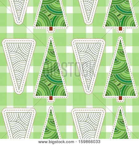 Background with Christmas tree and snowflakes. Seamless pattern for winter holiday, yuletide design. Embroidery stylization