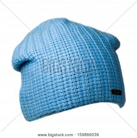 Women's Hat . Knitted Hat Isolated On White Background.blue Hat