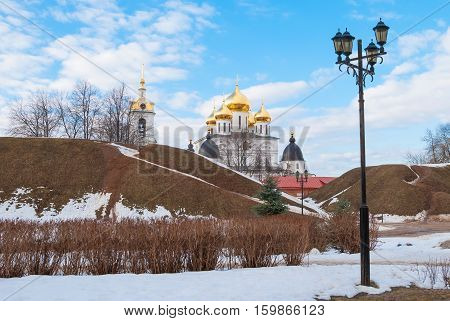 The Kremlin and the ramparts of the ancient Russian town of Dmitrov in the Moscow region