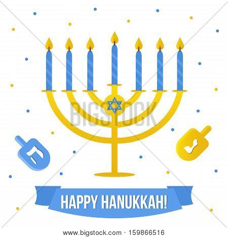 Hanukkah vector card with menorah and dreidel on white background. Jewish traditional holiday.