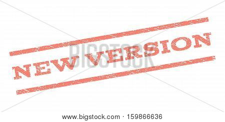 New Version watermark stamp. Text caption between parallel lines with grunge design style. Rubber seal stamp with unclean texture. Vector salmon color ink imprint on a white background.