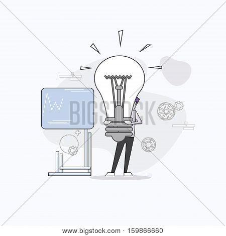 Business Man Board Finance Graph Working Laptop Computer Professor Teacher Seminar Training Conference Vector Illustration