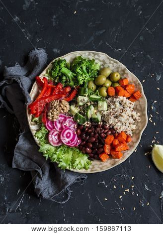 Vegetarian buddha bowl. Raw vegetables and quinoa in a one bowl. Vegetarian healthy detox food concept