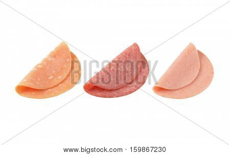 assorted deli meat slices on white background