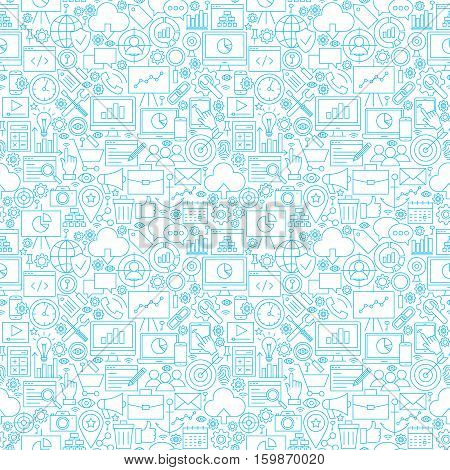 Line Web Development White Seamless Pattern. Vector Illustration of Outline Tile Background. Business and SEO.