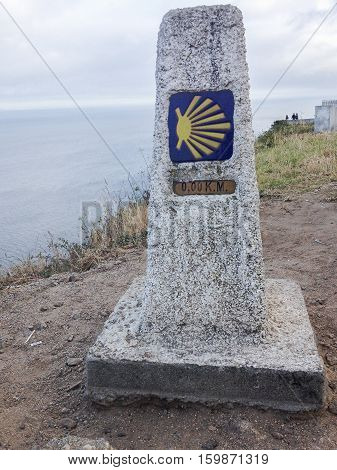 kilometer zero. Stone-kilometer target points signal Santiago Road to inform pilgrims on the road.