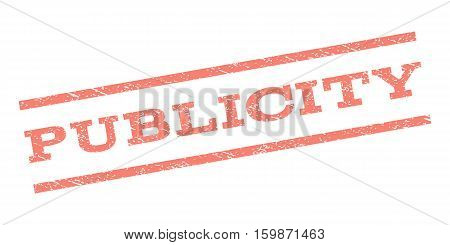 Publicity watermark stamp. Text caption between parallel lines with grunge design style. Rubber seal stamp with dust texture. Vector salmon color ink imprint on a white background.