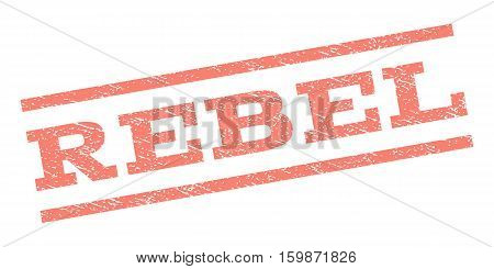 Rebel watermark stamp. Text tag between parallel lines with grunge design style. Rubber seal stamp with unclean texture. Vector salmon color ink imprint on a white background.
