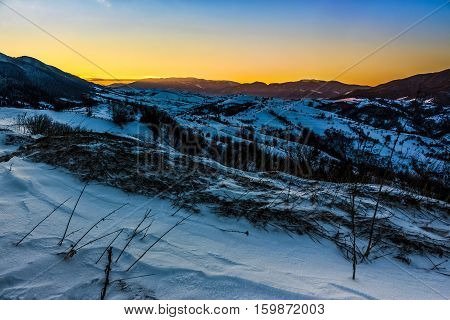 Sunrise In Winter Carpathians