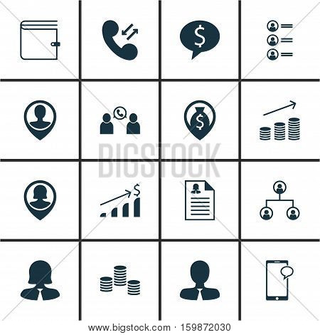 Set Of 16 Hr Icons. Can Be Used For Web, Mobile, UI And Infographic Design. Includes Elements Such As Pin, Job, Chat And More.