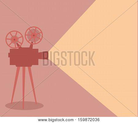 Vintage old cinema projector lighting. Vector illustration.