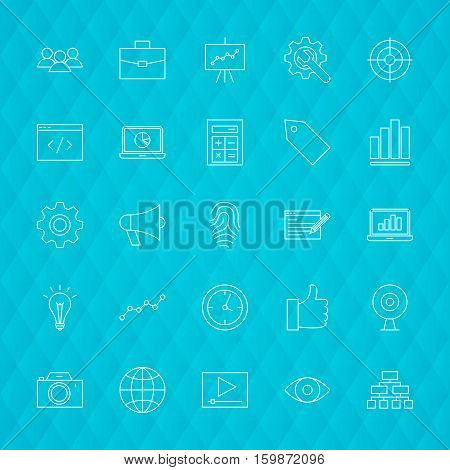 Web Development Line Icons. Vector Illustration of SEO Symbols over Polygonal Background.