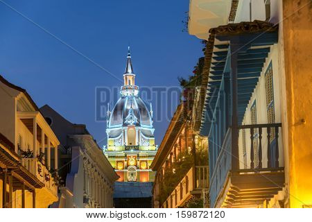 Cartagena Cathedral At Night