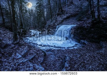 frozen waterfall on the river among forest with old brown foliage on the ground at night in full moon light