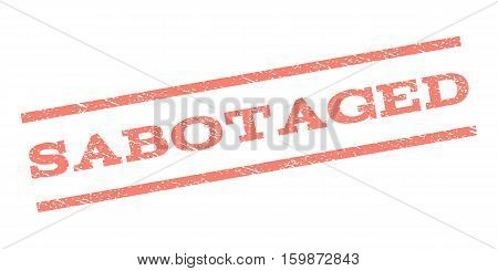 Sabotaged watermark stamp. Text caption between parallel lines with grunge design style. Rubber seal stamp with dirty texture. Vector salmon color ink imprint on a white background.