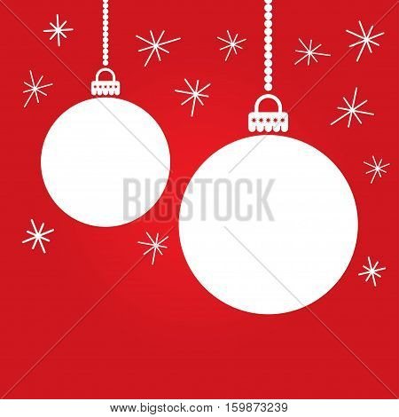 christmas card with colorful christmas balls vector illustration on red background