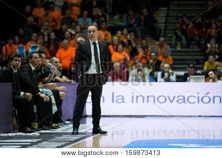 VALENCIA, SPAIN - DECEMBER 3: Carles Dura during spanish league match between Valencia Basket and Bilbao Basket at Fonteta Stadium on December 3, 2016 in Valencia, Spain