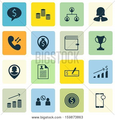 Set Of 16 Management Icons. Can Be Used For Web, Mobile, UI And Infographic Design. Includes Elements Such As Pin, Conference, Organisation And More.