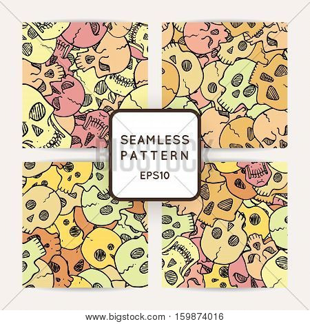 Set of vector seamless pattern with random skulls. Scary design.
