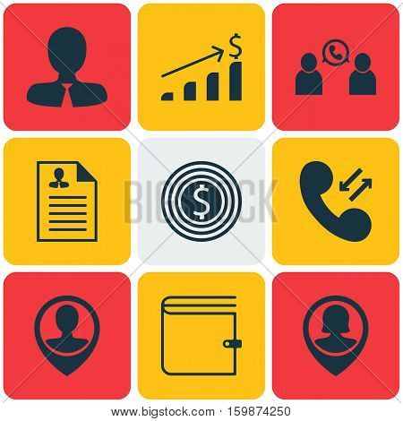 Set Of 9 Management Icons. Can Be Used For Web, Mobile, UI And Infographic Design. Includes Elements Such As Male, Pin, Cellular And More.