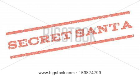 Secret Santa watermark stamp. Text tag between parallel lines with grunge design style. Rubber seal stamp with unclean texture. Vector salmon color ink imprint on a white background.
