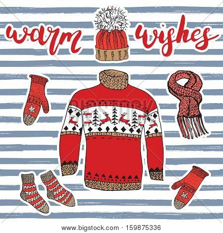 Winter Season Set Doodle Elements. Hand Drawn Sketch Colection With Warm Clothes, Socks, Gloves, Swe