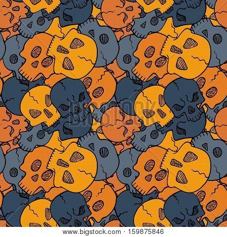 Vector seamless pattern with random skulls. Scary design.