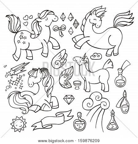 Magic set of unicorns, wings and potions. Pony collection.