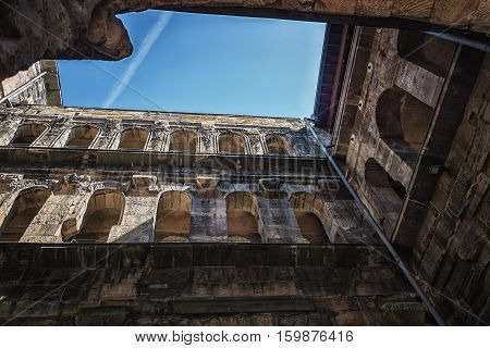Trier,Germany, April 21, 2015: The Porta Nigra is a large Roman city gate in Trier, Germany.