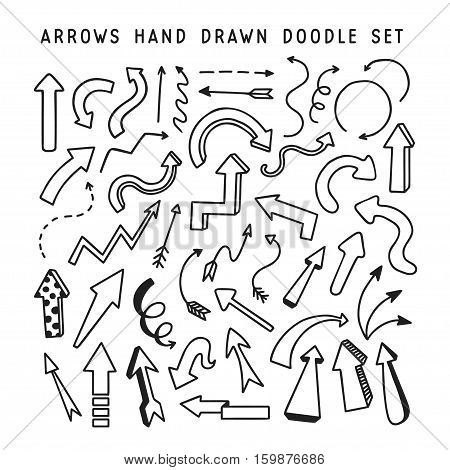 Hand drawn arrows doodle set. Hand crafted design elements for decoration. Vector illustration.