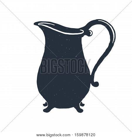 Creamer. Milk. Kitchen. Hand drawn vintage pitcher. Sketch style. Vector illustration. Isolated on white background
