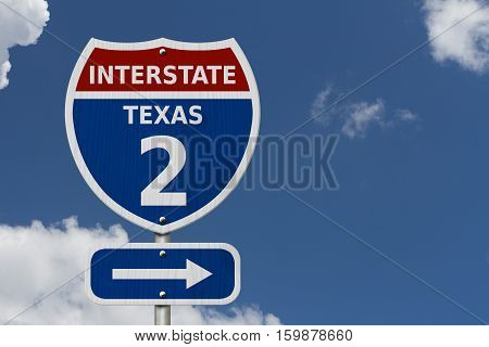 USA Interstate 2 highway sign Red white and blue interstate highway road sign with number 2 with sky background 3D Illustration