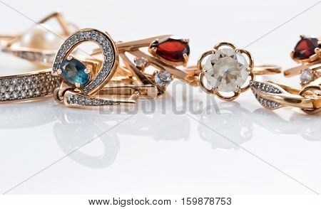 Gold Rings, Earrings With Topaz And Pearls