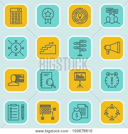 Set Of 16 Project Management Icons. Can Be Used For Web, Mobile, UI And Infographic Design. Includes Elements Such As Date, Finance, Growth And More.