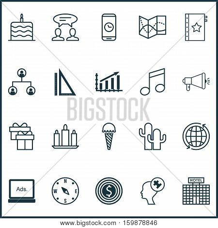 Set Of 20 Universal Editable Icons. Can Be Used For Web, Mobile And App Design. Includes Elements Such As Hotel Construction, Dialogue, Crotchets And More.