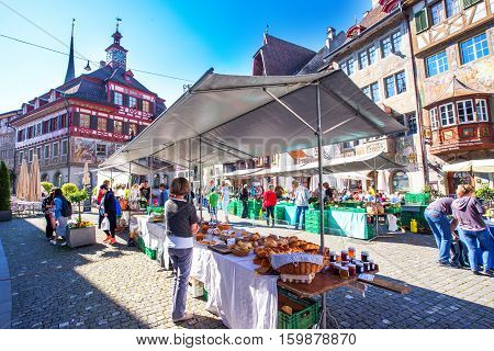Traditional Market In The Old City Center Of Stein Am Rhein