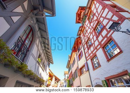 Colorful Houses In Old City Center Of Stein Am Rhein Willage