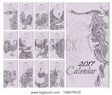 Calendar for 2017 year with mythical birds. Twelve different birds on vertical cards. Week Starts Sunday. Vector Template.