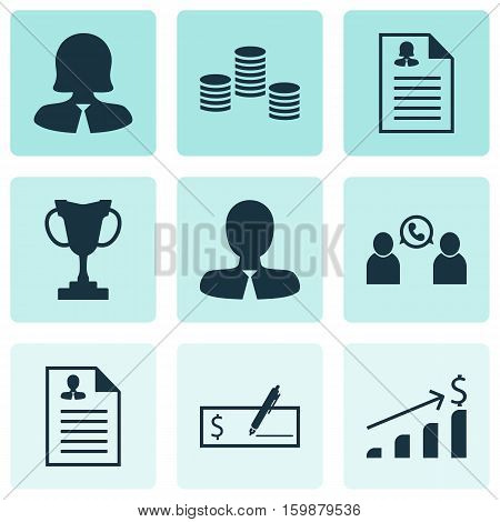 Set Of 9 Human Resources Icons. Can Be Used For Web, Mobile, UI And Infographic Design. Includes Elements Such As Profile, Check, Career And More.