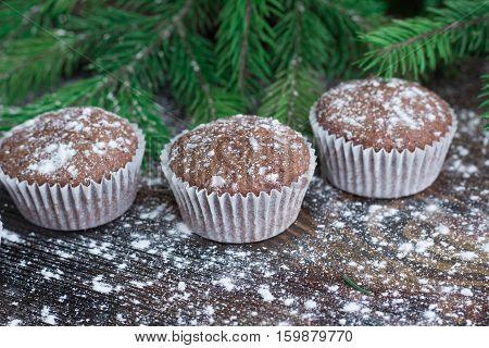 Three Christmas Cakes, Winter Snowbound Wooden Background, Fir Branches