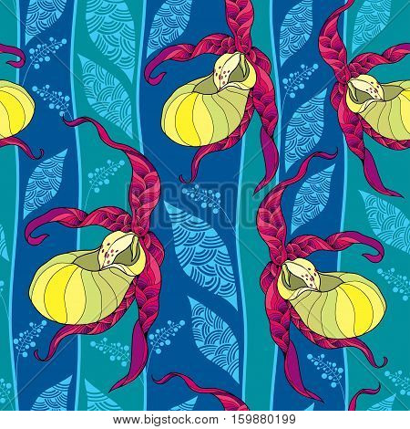 Vector seamless pattern with yellow Cypripedium calceolus or Lady's-slipper orchid and ornate leaves on the blue background. Floral background in contour style.