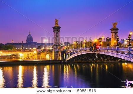 Pont Alexandre III (Alexander III bridge) in Paris France at sunrise