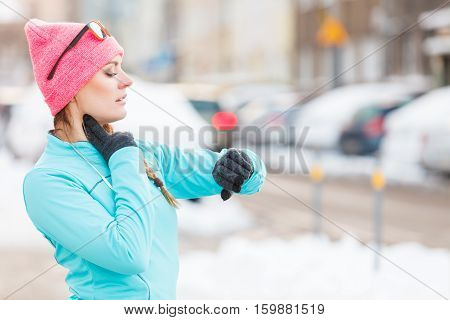 Young Girl Exercising On Street