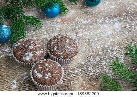 Three Christmas Cakes, Winter Snowbound Wooden Background, Blue Balls Ornament