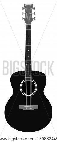 Accoustic guitar isolated on white background - vector