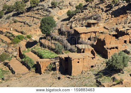 Moroccan village in the High Atlas mountains, Morocco, Africa