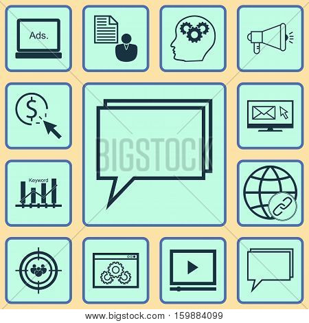 Set Of 12 SEO Icons. Can Be Used For Web, Mobile, UI And Infographic Design. Includes Elements Such As Bulding, Per, Community And More.