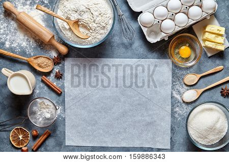 Dough preparation recipe bread, pizza or pie ingridients, food flat lay on kitchen table background. Working with butter, milk, yeast, flour, eggs, sugar pastry or bakery cooking. Text space
