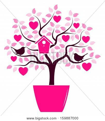 vector heart tree with nesting bird box and couple of birds in pot isolated on white background