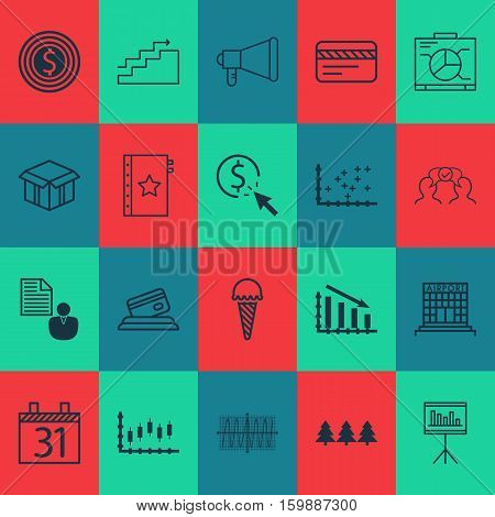 Set Of 20 Universal Editable Icons. Can Be Used For Web, Mobile And App Design. Includes Elements Such As Date, Stock Market, Cooperation And More.